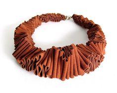 orange bib necklace avant garde ruffle fashion urban by frankideas, $70.00
