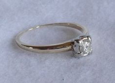 Vintage 14K Yellow and White Gold Solitaire by BarbaraShopping