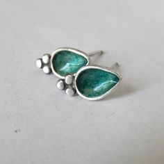 Handmade sterling silver small teardrop  ear studs with turquoise teal enamel and resin