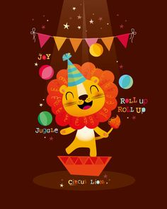 Vector illustration of a circus lion Art And Illustration, Illustrations, Nursery Prints, Nursery Art, Bebe Vector, Circus Nursery, Cartoon Lion, Lion Drawing, Cute Lion