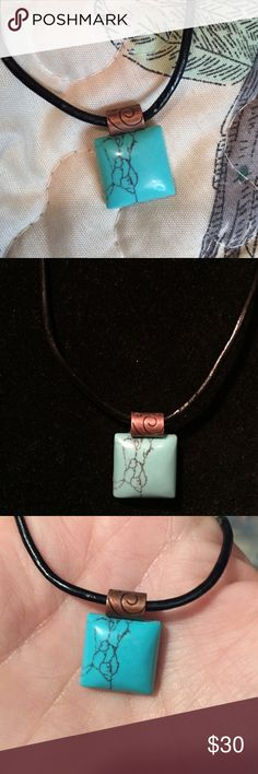Genuine turquoise necklace Handcrafted necklace on a copper bail and a genuine leather cord the cord measures 17 inches long and can extend out to 19 plumerias Jewelry Necklaces