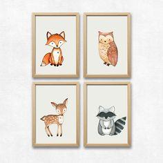 New Wald Tiere er Set Fuchs Eule Reh und Waschb r Kinderzimmer Deko Kunstdrucke DIN