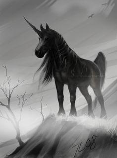 Black Unicorn for Fantasy Flight Games' Talisman. Unicorn Fantasy, Real Unicorn, The Last Unicorn, Black Unicorn, Unicorn Horse, Unicorn Art, Unicorn Painting, Magical Creatures, Fantasy Creatures