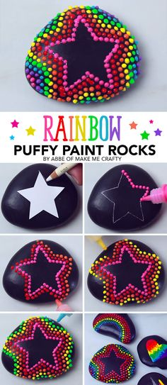 Make these cute puffy paint rocks using Tulip Dimensional Paint! Get this DIY fr… Make these cute puffy paint rocks using Tulip Dimensional Paint! Get this DIY from Abbe of Make me Crafty and make your own painted rocks! Rock Painting Patterns, Rock Painting Ideas Easy, Rock Painting Designs, Puffy Paint Designs, Rock Painting For Kids, Dot Painting On Rocks, Painted Rocks Craft, Hand Painted Rocks, Painted Stones
