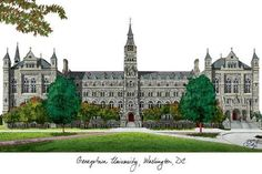 College framable print, photo. This Georgetown Hoyas artwork is a beautiful rendition of your favorite campus. The original art, from which our images are reproduced, is hand rendered pen and ink, exp