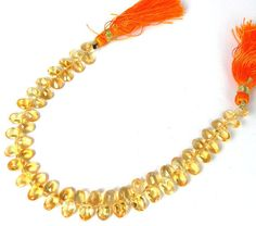"1 Strand Citrine Oval Faceted Drilled Gemstone Briolette Beads 4X6mm 7"" Long"