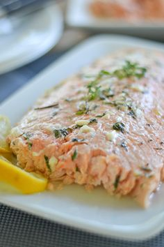 Healthy Oven Poached Salmon with Honey and Thyme