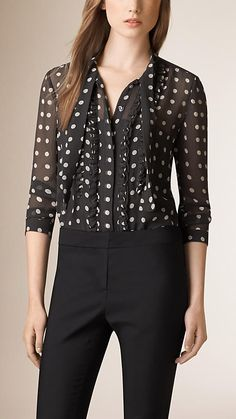 Burberry - Dark grey Ruffle Detail Polka Dot Silk Shirt - Image 1