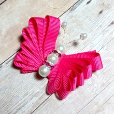 Butterfly hair bow brooch loopy butterfly hair clip pearl hair clip girls Hair accessories Birthday Gift baby shower gift bridal wedding by CzechOutMyBows on Etsy