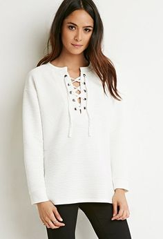 Quilted Lace-Up Top | Forever 21