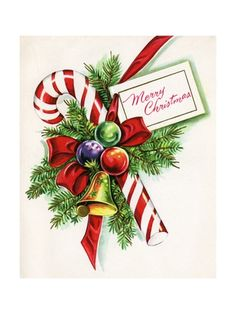 Vintage Illustration of Christmas Candy Cane Giclee Print at AllPosters.com