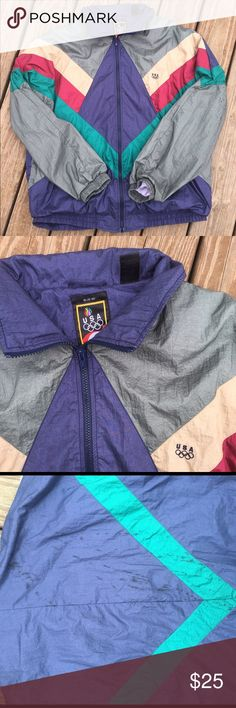Vintage Olympic USA Zip Up Wind Breaker Jacket Vintage USA Olympic Windbreaker. Wow!! Amazing colonies and super cool pattern. This is a size XL. Few small hardly noticeable stains on back of jacket (As pictured.) Very vintage, you won't find many like it! olympic Jackets & Coats Windbreakers