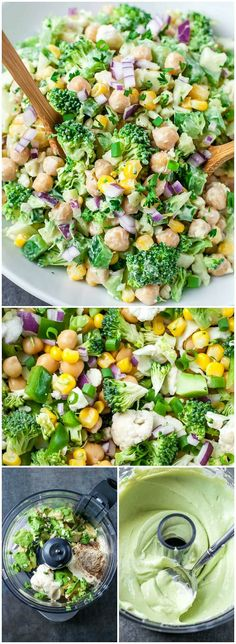 THE BEST! Featuring a tasty medley of broccoli cauliflower corn and chickpeas this chopped cauliflower broccoli salad with creamy avocado dressing is ready to rock your portable lunch game. Perfect for parties potlucks picnics and a tasty on-the-go lunch! Vegetarian Recipes, Cooking Recipes, Healthy Recipes, Delicious Recipes, Vegetarian Salad, Salad Recipes, Cooking Ham, Cheap Recipes, Healthy Salads