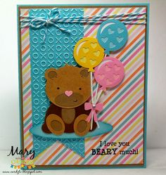 DIY Bear with Baloons I love you card