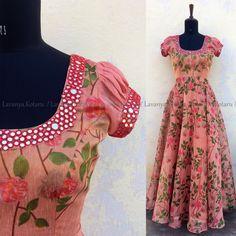 Com Best 12 Pink floral maxi dress – SkillOfKing. Salwar Designs, Half Saree Designs, Kurti Designs Party Wear, Long Dress Design, Dress Neck Designs, Designs For Dresses, Frock Design, Long Gown Dress, Sari Dress