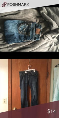 "BKE  jeans BKE, med dark wash, minor ware on heals, 27/31 1/2"" BKE Jeans Boot Cut"