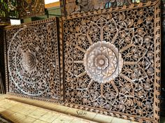 Large Headboard Hand Carved Wood Panel. Carving by SiamSawadee