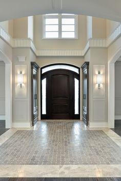 dark front door interior   big elegant entry   floor design ideas   high ceilings   foyer