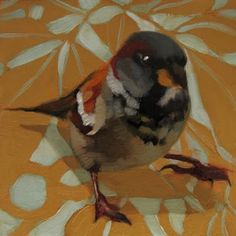 Sparrow on Pattern painting, painting by artist Diane Hoeptner