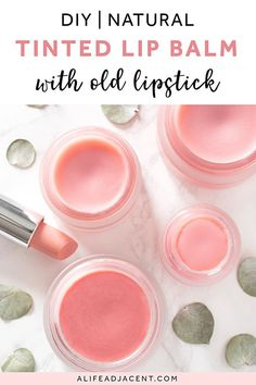 Learn how to make your own easy DIY lip balm! This tinted lip balm recipe is incredibly simple – all you need is a few natural ingredients and a piece of lipstick! Don't throw away old or broken lipstick. Upcycle it instead to create your own customized homemade lip balm with lipstick. Easy recipe with coconut oil and shea butter. Can also be made without beeswax. This budget friendly beauty tip saves you money on lip balm! #diylipbalm #diybeauty #alifeadjacent #lipbalm Homemade Lip Balm, Diy Lip Balm, Tinted Lip Balm, Homemade Soap Recipes, Lip Tint, Natural Beauty Tips, Diy Beauty, Natural Makeup, Beauty Hacks