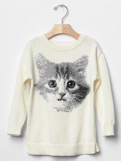 Cat intarsia sweater tunic