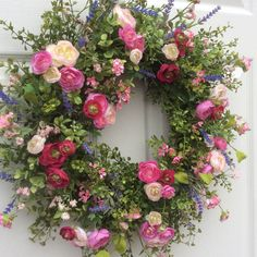 Garden Meadow Wreath-Spring Wreath-Spring Door Wreath-Summer Wreaths-Easter Wreath-Cottage Chic Wreath-Designer Wreath-Wedding Wreaths-Reginas Garden This delicate wreath is a lovely mix of garden meadow spring flowers to welcome the new season. French lavender, pink and fuchsia