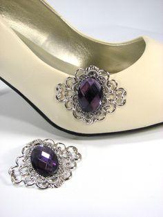 Amethyst Shoe Clips Silver Filigree Purple 1 Pair Shoe Accessories by SpinTilYurDizzy on Etsy https://www.etsy.com/listing/213165436/amethyst-shoe-clips-silver-filigree
