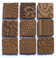 Cardboard relief sculpture focused on pattern and texture. Middle or high school art project. Cardboard Sculpture, Cardboard Crafts, Paper Crafts, Cardboard Painting, Cardboard Design, Cardboard Relief, Collagraph, Middle School Art, Elements Of Art