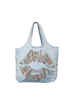 """From designer Lauren Moshi, this oversized tote bag is essential for storing all of your needs. Also the perfect overnight bag. Denim blue color with a multicolor lip design. Light-weight.    Measures: 18"""" W x 15"""" H x 5"""" D; 10"""" handle drop   Denim Lips Tote by Lauren Moshi. Bags - Totes New York"""