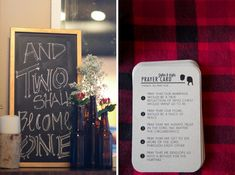 Unusual, clever and so needed...Prayer that is.  coed wedding shower | lumberjack theme