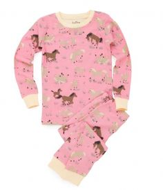 Hatley Classic Kids Pyjamas.  Running Horses.  This 2-peice girls pyjama set with long sleeves and long trousers, has an all over running horses print design.  £17.99