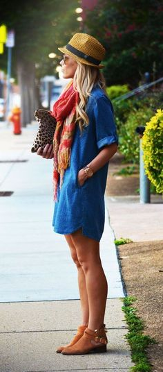 Spring / Summer - street style - boho chic style - rolled up sleeves denim shirt dress + brown cutout booties + coral scarf + brown and black fedora + aviators