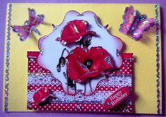 rote Mohnkarte m.Schmetterlinge u.Libelle-3d-