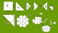 vouwen bloemenmandje Easter Crafts, Fun Crafts, Crafts For Kids, Origami Toys, Paper Basket, Gift Packaging, Easter Baskets, Happy Easter, Art For Kids