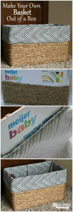 Own Basket Out of a Box Custom baskets, I like it. How to Make Your Own Basket Out of a BoxCustom baskets, I like it. How to Make Your Own Basket Out of a Box Home Crafts, Diy Home Decor, Diy And Crafts, Baby Crafts, Diy Projects To Try, Craft Projects, Diy Rangement, Creation Deco, Make Your Own