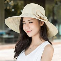UV wide brim straw hat for women with bow floppy sun hats package