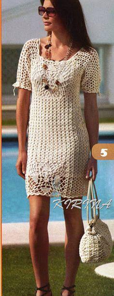 pretty crochet dress and purse