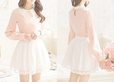 pretty cute fashion dress kawaii skirt asian flowers pink Clothes ...