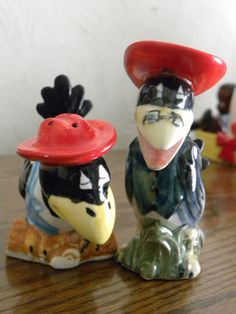 vintage crows salt & pepper shaker set - japan | eBay