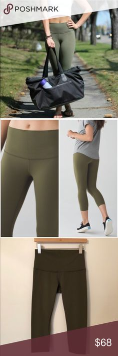 a55ad470f970f Lululemon Wunder Under Crop Rolldown Lululemon Wunder Under Crop Rolldown  in the color called Fatigue Green