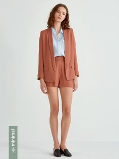 Textured Tencel Open Blazer in Dusty Orange - As part of our sustainable process and goal to make clothing with more integrity, this garment was made using the most efficient and ecological practices available. Give your inner lady boss the assertive outfit she requires. From the boardroom to the bar, this open blazer will show them you mean business.