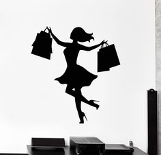 Vinyl Wall Decal Shopping Girl Woman Shop Store Business Stickers (ig4457)