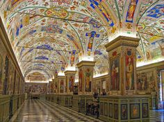One the Most Beautiful Museum Libraries in the World. The Vatican Museum Library, Vatican City. The Vatican Museum Library, Vatican City Le Vatican, Vatican City Rome, Vatican Library, City Library, Beautiful Architecture, Art And Architecture, The Places Youll Go, Places To See, Beautiful Library