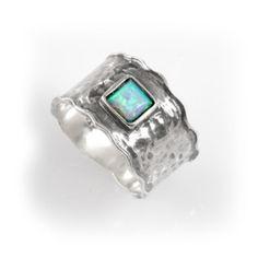 Beautiful 925 Sterling Silver Fire Blue Opal Stone Ring Art Womens Fashion, silver gemstone band, silver opal ring, blue opal jewelry op Etsy, $57.00