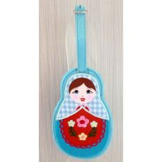 Luggage tag Babushka blue scarf   #russiandoll #matryoshka #dollsindolls #decor #traditional #kids #toys #handmade