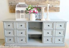 Great tutorial on which products to paint with.  Was a 70's dresser before. {Before & After} – dresser turned TV console | Sweet Pickins Furniture
