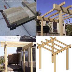 This pergola arbor makes a great entrance structure. It consists of posts, beams and rafters. Garage Pergola, Deck With Pergola, Wooden Pergola, Pergola Shade, Patio Roof, Pergola Patio, Pergola Plans, Pergola Kits, Pergola Ideas