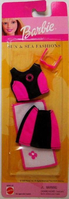 Barbie Sun and Sea Hot Pink and Black Spandex Two-Piece Beach Ensemble Fashion.. #Mattel