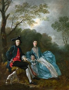 Portrait of the Artist with his Wife and Daughter a.1748 by Gainsborough. Note the useless apron!