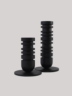 These modern candlesticks are designed to create a table landscape. Precision machined from mild steel they add an edge to any space. #candle #candlestick #homedecor #black #style Positive And Negative, Dark Horse, Candlesticks, A Table, Candle Holders, Led, Black Style, Steel, Modern